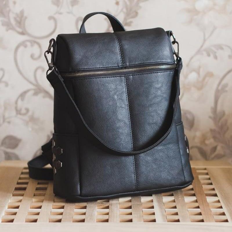Vintage Leather Zip Top Backpack