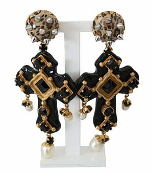 Gold Brass Cross Black Crystal Dangling Pearl Earrings