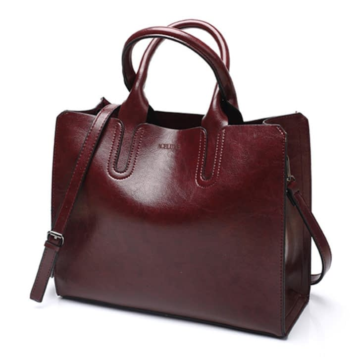 Women's Oil Leather Tote Shoulder Bag