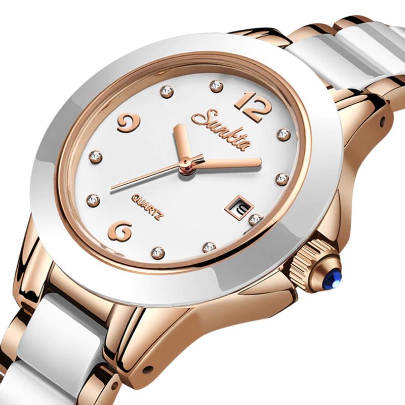 Bracelet Style Round Steel Quartz Watch for Women