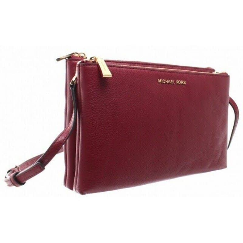 Michael Kors Adele Double Zip Maroon Red Leather Handbag